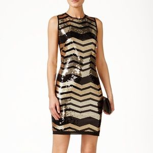 Vince Camuto Sleeveless Chevron Sequin Dress